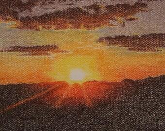 Sunset Painting, Original Sunset Art, Sunset Artwork, Sunset Originals, African Paintings, African Sunset, Serengeti Scenes, Pastel Painting