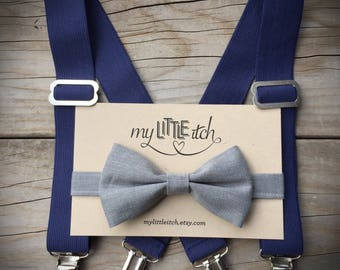 Navy Blue Suspenders, Grey Bow Tie, Baby Suspenders, Baby Bow Tie, Kids suspenders, Baby Photo Prop, Ring Bearer Outfit, Baby Wedding Outfit