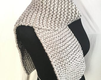 Hand Knit Gray Scarf