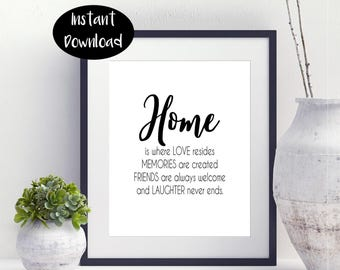 Home Is Where Love Resides Memories Are Created Gifts For Newlyweds Family Wall Art Sign Housewarming Gift Digital Download INSTANT DOWNLOAD