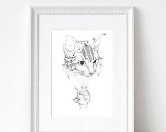 Unframed Cat & Mouse Dotwork Illustration Print // WANNA PLAY?
