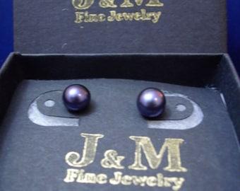 Sterling Silver Black Button Pearl Earrings