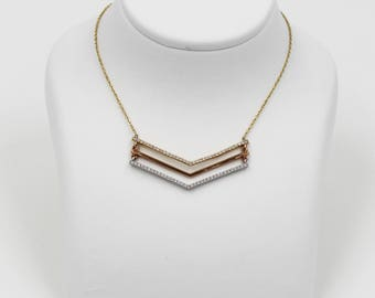 14k Gold Bar Necklace with 3 Colors, white, rose gold and yellow gold