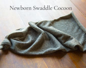Newborn Swaddle Cocoon - Soft Knit Linen Poly Blend