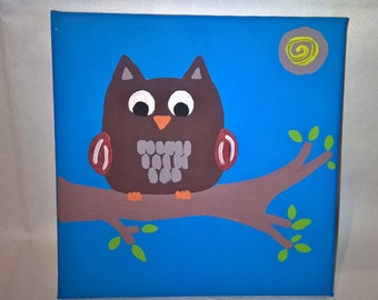 OWL in the night acrylic painting