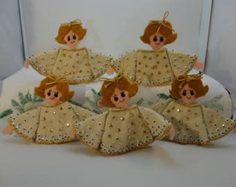 5 Angels, Felt and Sequin, Christmas Decorations, handmade, napkin rings