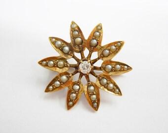 Diamond Brooch, Pearl Brooch, Vintage Brooch, Vintage Diamond Brooch, 10k Yellow Gold .11 CT Diamond & Seed Pearl Accent Brooch Pin #2494