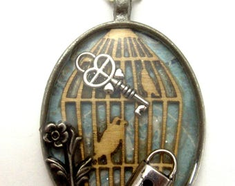 Birdcage Necklace, birdcage pendant, bird cage