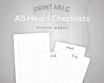 A5 Printable Heart Checklist Planner Inserts | To Do, Goals, Projects | Filofax Kikki K Large