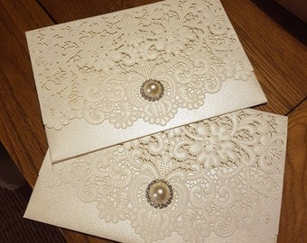Lace pearl invitation envelope -add your own inserts
