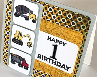 1st Birthday Card, Birthday Boy Card, Happy Birthday Card, Card for boy, Car Birthday Card, Little Boy Card, First Birthday Card