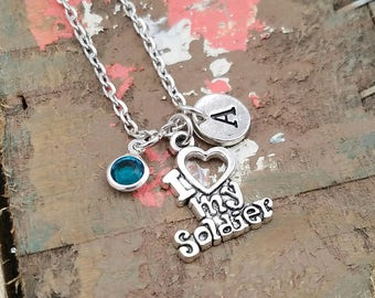 Army Wife Necklace, Military Wife Necklace, Military Wife Jewelry, Army Wife Jewelry, I Love My Soldier Necklace, Necklace, Solider Jewelry