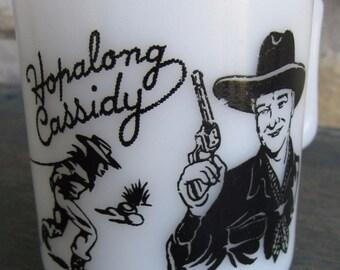 Vintage 1950's Hazel Atlas Black Hopalong Cassidy White Milk Glass Mug Cowboy Western Cup