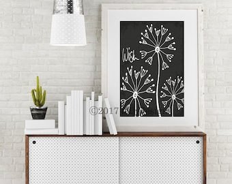 Black and white dandelion print. Insprational typography-Wish. Dandelion wall art. Black and white dandelion home decor. Dandelion poster