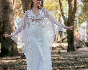 Soft Ivory wedding gown in Duchess Satin, French Tulle and lace