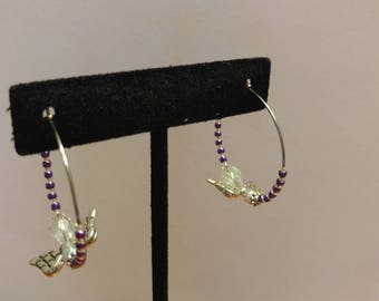 Purple Japanese Glass Seed Bead and Czech Glass, Stainless Steel Hoop Earrings with Angel Element
