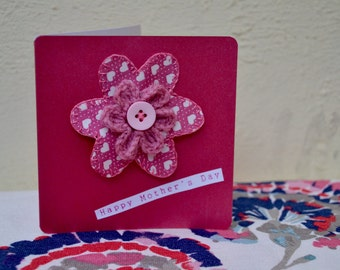 Crochet Flower Mother's Day Card with Detachable Broach
