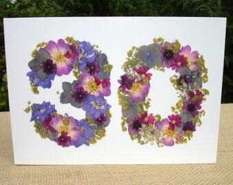 30th Birthday Card, Sister 30th, Friend 30th, Wife 30th Birthday, Cards for Gardeners, Daughter 30th Birthday, English Pressed Flower PRINT