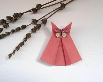 Origami, Pink Dress, for material creation, dress card, dress card, miniature clothes, dress with butterfly.