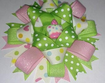 Cupcake Loopy Hair Bow, Birthday Bow, Birthday Cupcake Hair Bow, Round Hair Bow, Birthday Hair Bows for girls