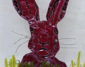Fused Glass Hare Decorative Hanger