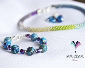 Necklace/3 in 1/necklace with bracelet, kumihimo, turquoise, Jasper / detachable bracelet / pendant removable blue/green / summer/adjustable/unique