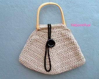 Crochet handle bag with bamboo handles