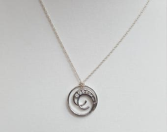 Love Journey Circle Pendant Stone Sterling Silver Chain