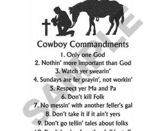 Cowboy Commandments - Machine Embroidery Design
