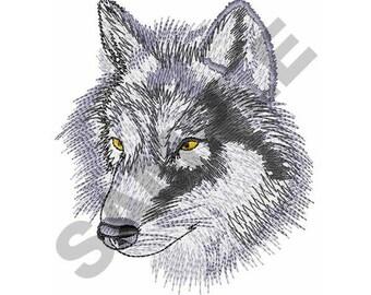 Gray Wolf Head - Machine Embroidery Design