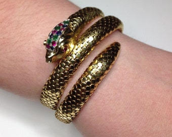 Estate Ladies Vintage 18K Yellow Gold Ruby Emerald & Sapphire Snake Serpent Bracelet 54 Gram