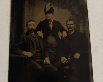Just One of the Guys:  Antique Tintype Photograph of a Woman With 2 Men