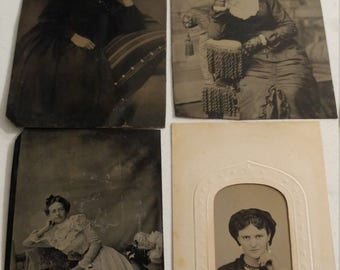 Women With Attitude:  Lot of 4 Antique Tintype Photographs of Strong Women