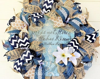 SALE - Easter Wreath, He Has Risen, Spring Wreath, Navy, Tan, and White, Easter Lilies