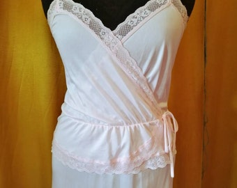 70s Pink Lace Slip Dress M