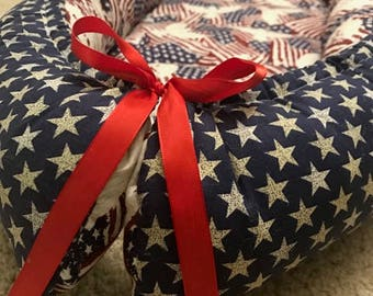Double-sided Babynest, Cocoon for Baby, Travel bed, Patriotic, USA