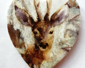 Stags, stag coasters, stag coaster set, heart shaped coasters, decoupaged stone coasters, set of coasters, rustic coasters. Deer / stag
