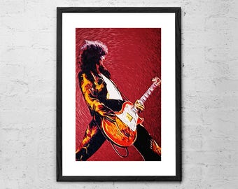 Jimmy Page - Led Zeppelin - Illustration - Led Zeppelin Poster - Guitarist - Rock Poster - Rock Music - Rock and Roll - Led Zeppelin Print