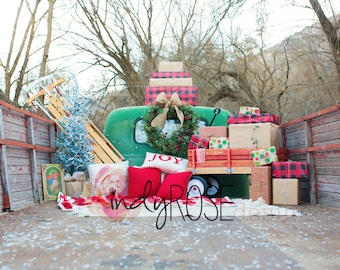 Vintage truck bed Christmas digital backdrop