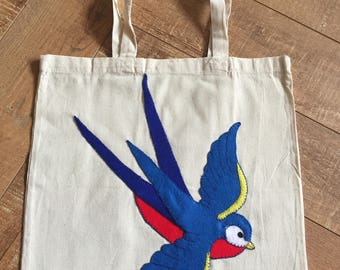 Tote bag with hand appliquéd felt swallow