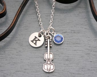 Violin Necklace, Personalized Violin Necklace, Violin Initial Necklace, Initial Birthstone, Violonist Gifts, Violin Player Gifts, Custom