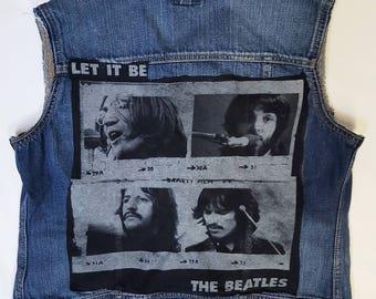 Womens LET IT BE Beatles rock denim vest-size: Small