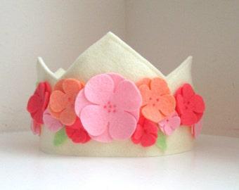 Felt Flower Crown, Birthday Crown,  Peach Tones, Flower Girl,  First Birthday, Girl, Velcro Closure, Photo Prop, Smash Cake