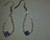 Silver and purple earrings