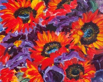 Fiery Sunflowers, flowers, original mixed media painting, watercolor and acrylic painting