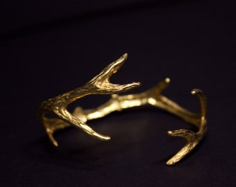 Deer Antler Cuff (Gold)