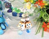 RESERVED FOR TISH: Adorable Owl Blue Earrings
