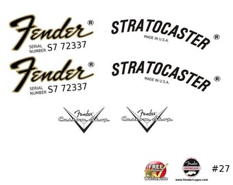 Fender Stratocaster Guitar Decal Waterslide Decal Headstock Logo #27