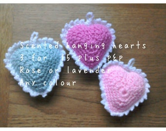 Crochet scented hanging heart decoration
