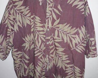 Tori Richard Red Button Up Shirt W/ Leaf Pattern